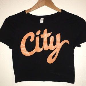 """Tops - Graphic Crop Top Tee """"City"""""""